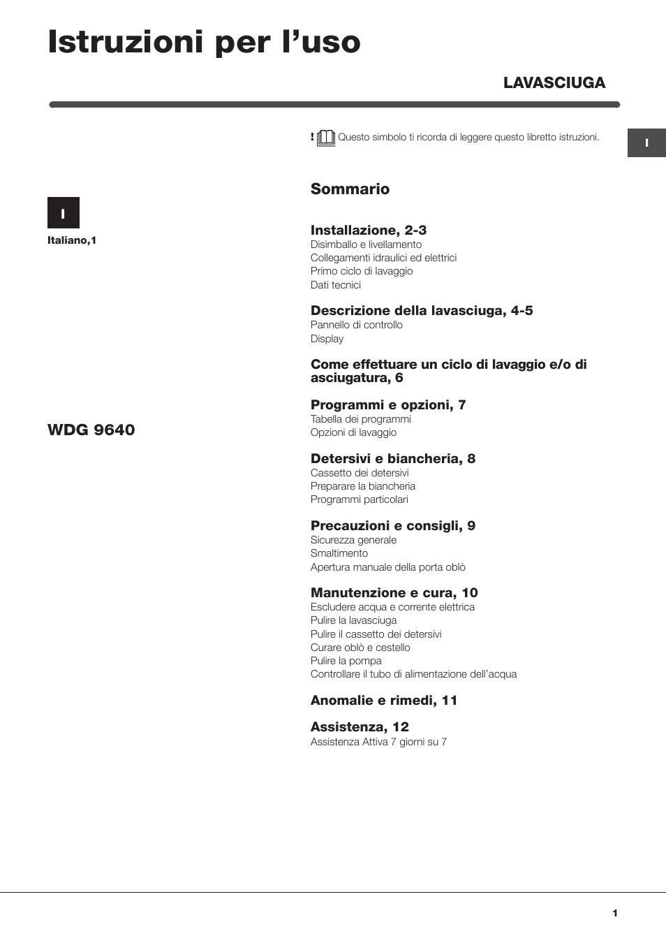 Hotpoint ariston wdg 9640b it manuale d 39 uso pagine 12 for Caldaia ariston egis manuale d uso
